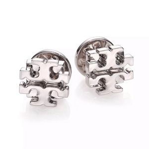 Tory Burch Silver Stacked T Logo Earrings